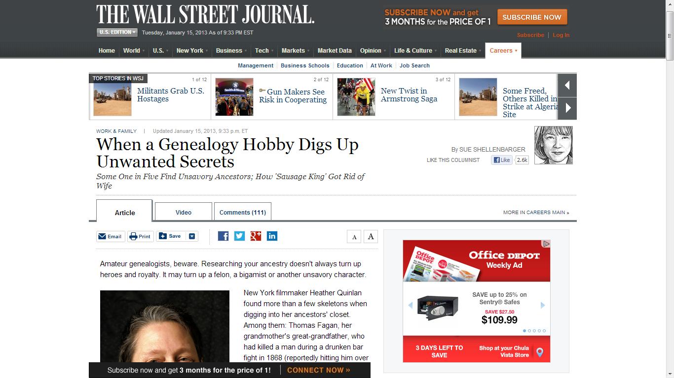 Genea-Musings: Wall Street Journal Article Features Genealogy!