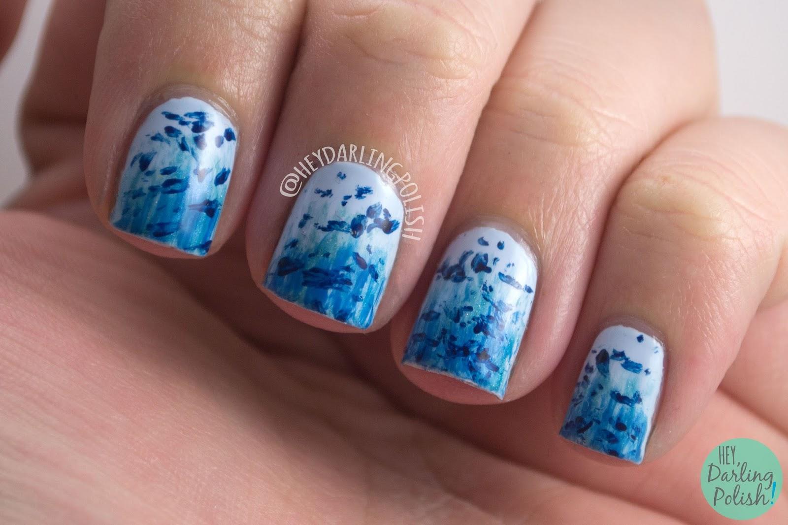 nails, nail art, nail polish, blue, guppy, hey darling polish, 52 week challenge,
