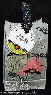 Bekka's Adorable Halloween Treat Bag made using the Stampin' Up! Ghoulish Googlies Designer Kit and Googly Ghouls Stamp Set.  Email bekka@feeling-crafty.co.uk to get your kits!