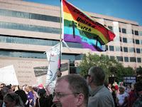 CUCC's banner at Moral Monday