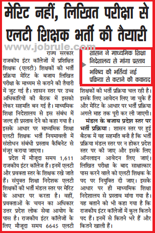 UP 6645 LT प्रशिक्षित शिक्षक Bharti/Recruitment Related latest News November 2014