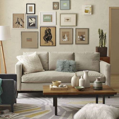 elegant wall art in a neutral living room