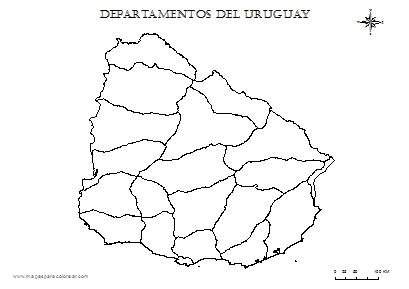 Mapa de uruguay con división