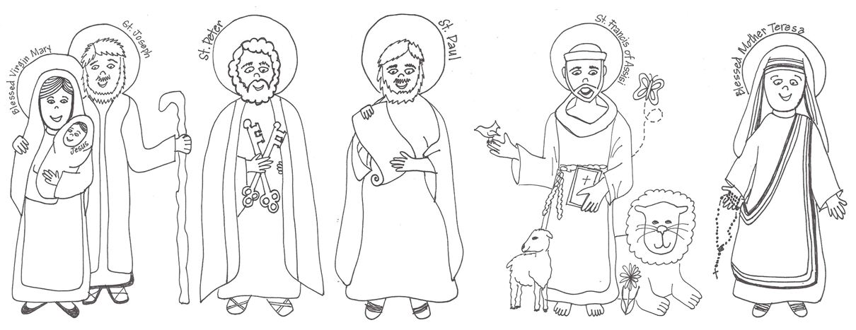 Saints Coloring Pages And Murals The Holy Family
