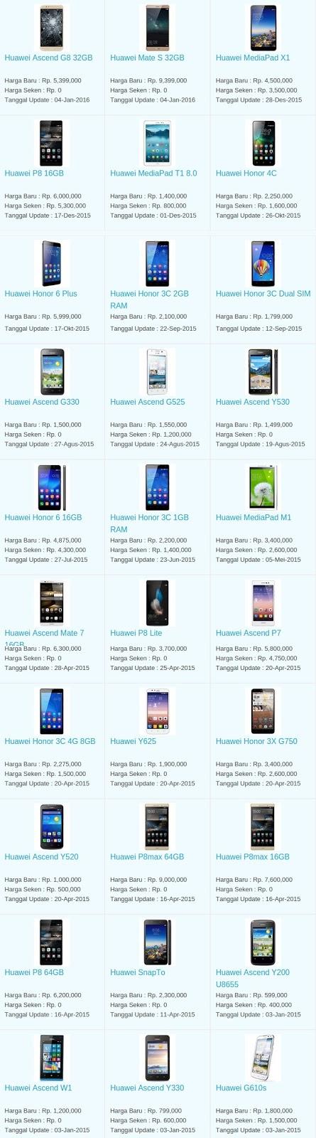 Daftar Harga Hp Huawei Februari 2016