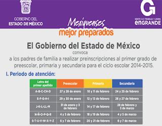 ... de Preinscripciones para Preescolar, Primaria y Secundaria 2014-2015