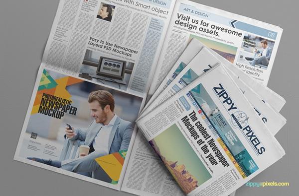 Download Gratis Mockup Majalah, Brosur, Buku, Cover - Free Customizable Newspaper & Advertising Mockup