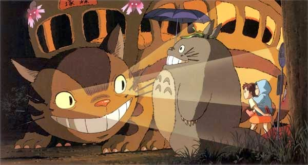 Totoro and a cat bus add magic to Miyazaki's My Neighbor Totoro.