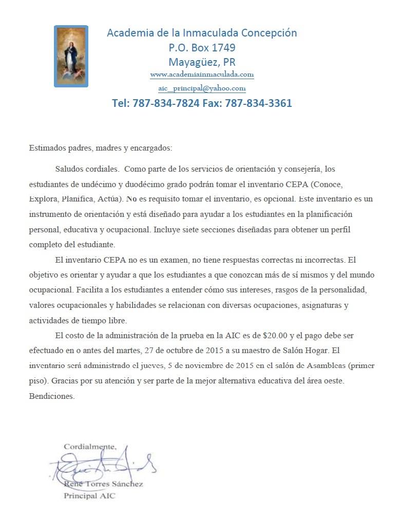 Orientación y Consejería AICS: Anuncios