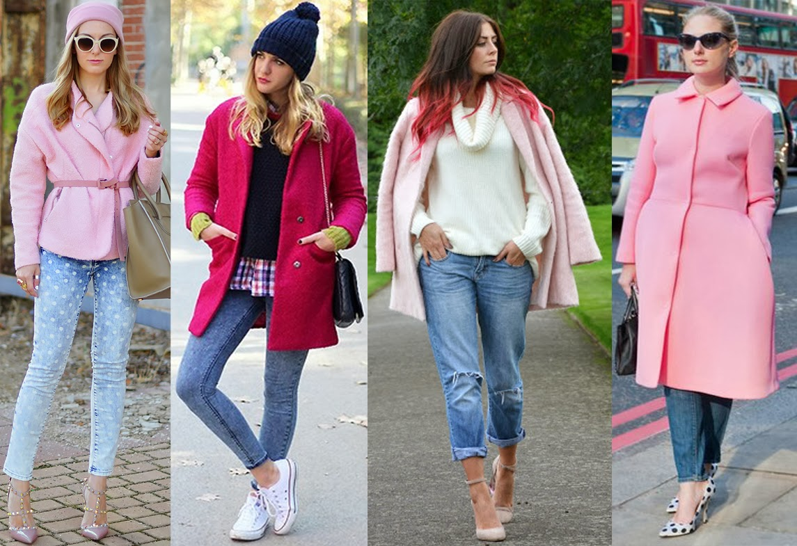 8 stylish ways to wear a pink coat with your jeans - FASHION POSSE