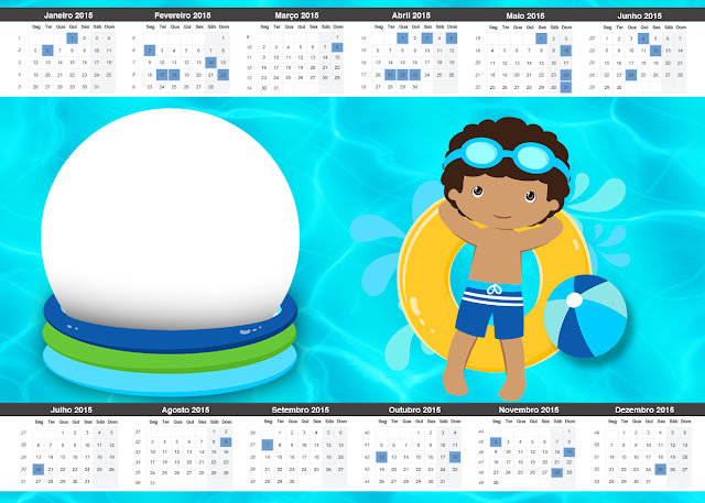 Free Printable Calendar 2015 of Brunette Boy Pool Party.