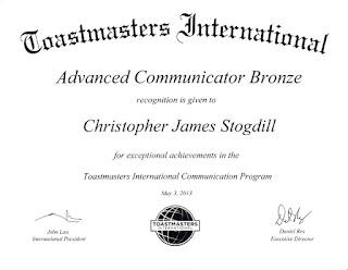 Toastmasters International Advanced Communicator Bronze Award