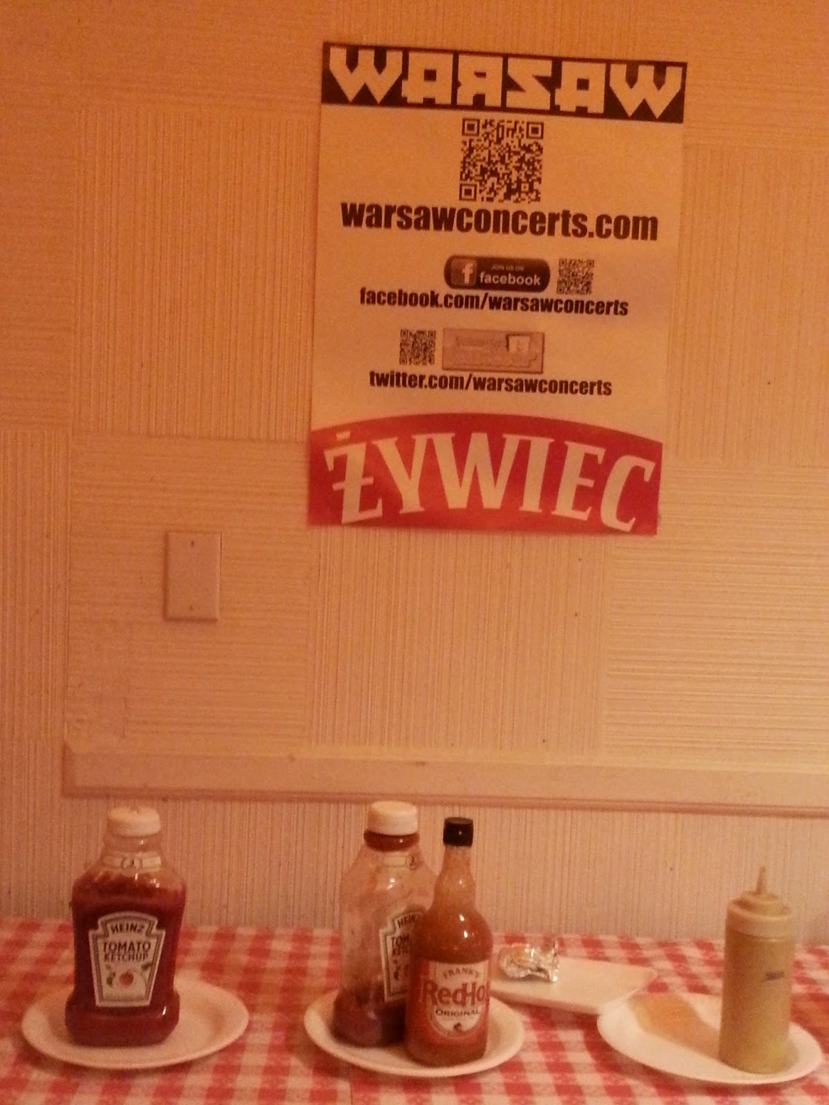 Polish poster and condiments at Warsaw.