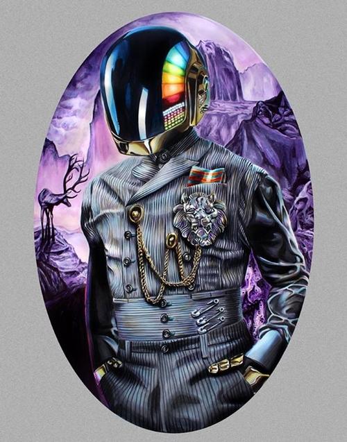 16-Daft-Punk-Deux-Joshua-Roman-Rainbow-Portraits-Drawings-Illustrations-www-designstack-co
