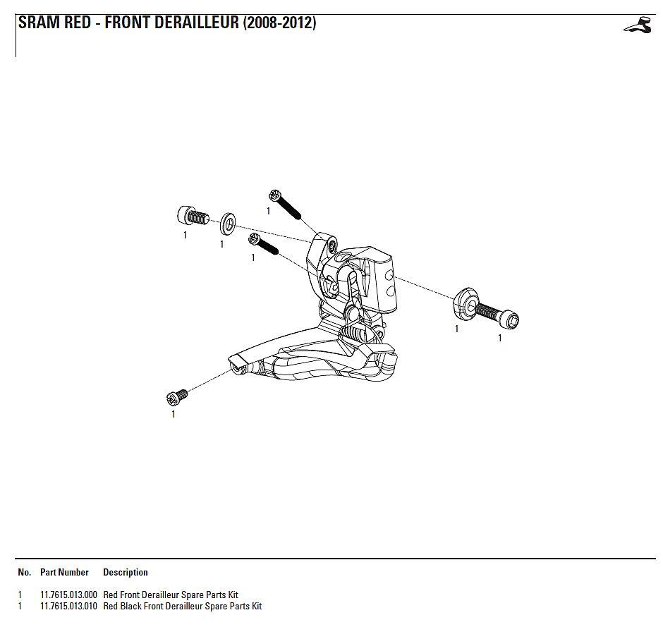 2008 2012 Sram Red Front Derailleur Parts Diagram Bikeresource
