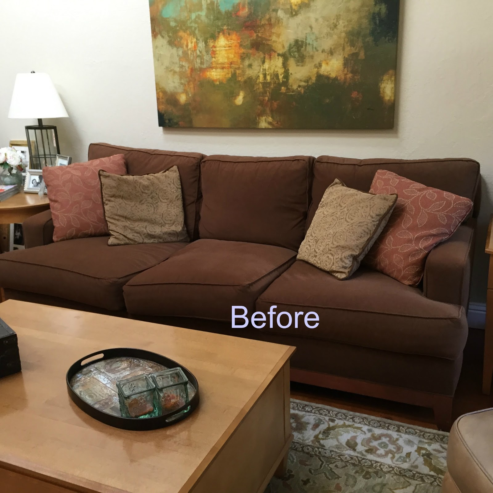 Brown couch blues mini makeover before and after for Cheap classic sofas