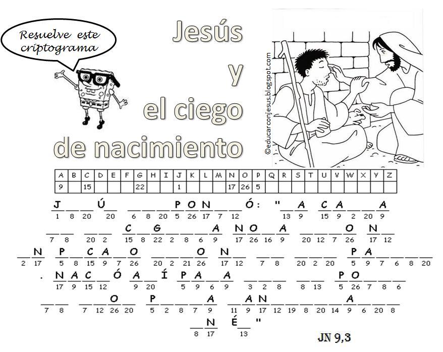 Educar con Jesús: Ciego de nacimiento Jn 9,1-12. Con la lupa