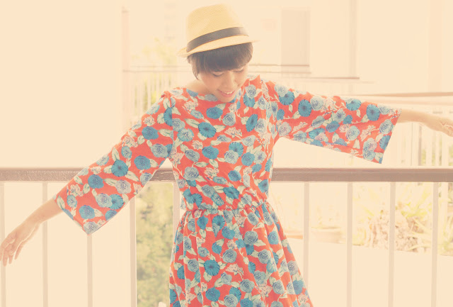 long printed vintage dress, printed dresses, bright colored dresses