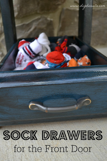Upcycled Drawers: I used two old drawers to create a new furniture piece that holds our socks by the door. This helps organize and speed up the process to leave the house with two toddlers.