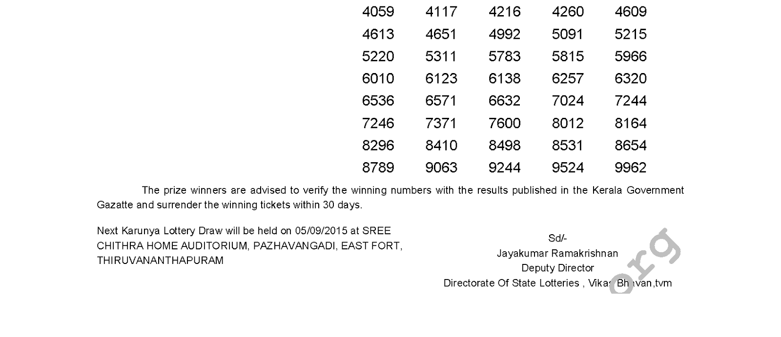 Karunya Lottery KR 204 Result 29-8-2015