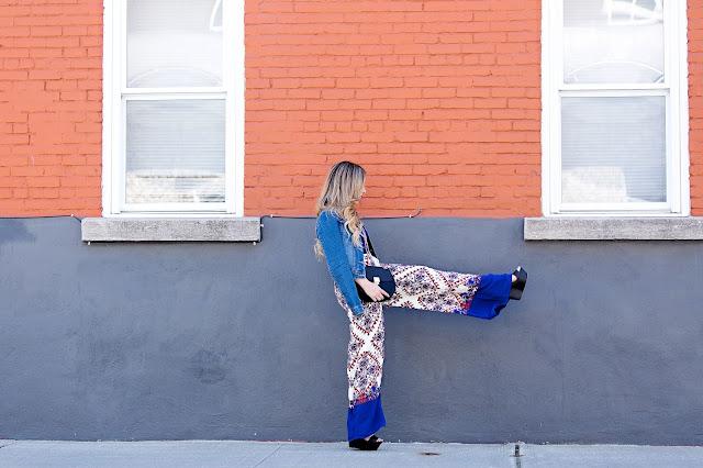 fashion mode sara outfit pantalons palazzo denim jacket blogger quebec