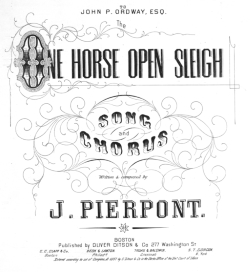 Original 1957 sheet music title page for JINGLE BELLS (One Horse Open Sleigh) by James Pierpont