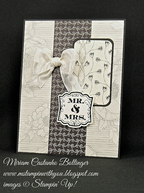 Miriam Castanho Bollinger, #mstampinwithyou, stampin up, demonstrator, mm, wedding card, timeless elegance dsp, heat embossing, label love, artisan label punch, su