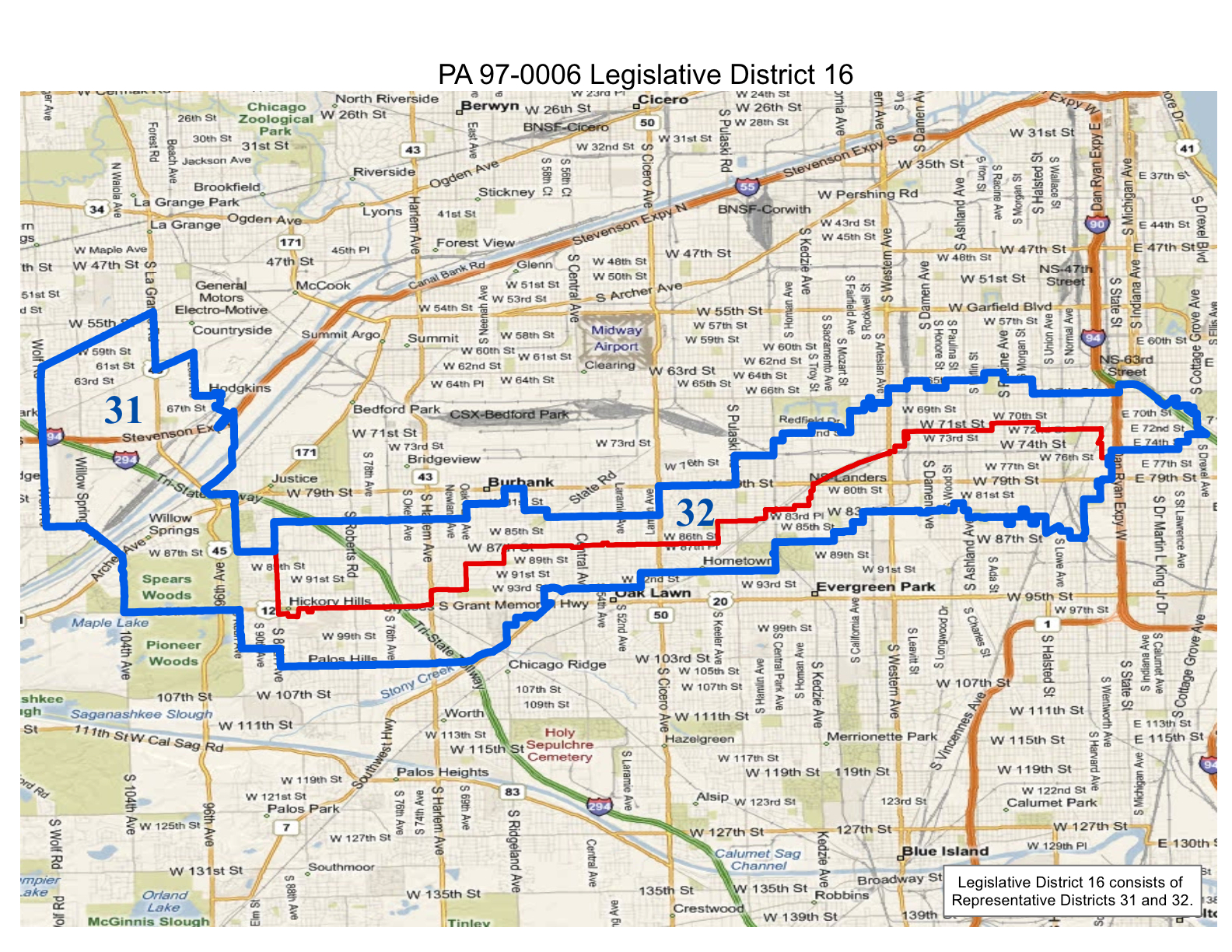 map of realigned illinois legislative district 16 consisting of representative districts 31 and 32