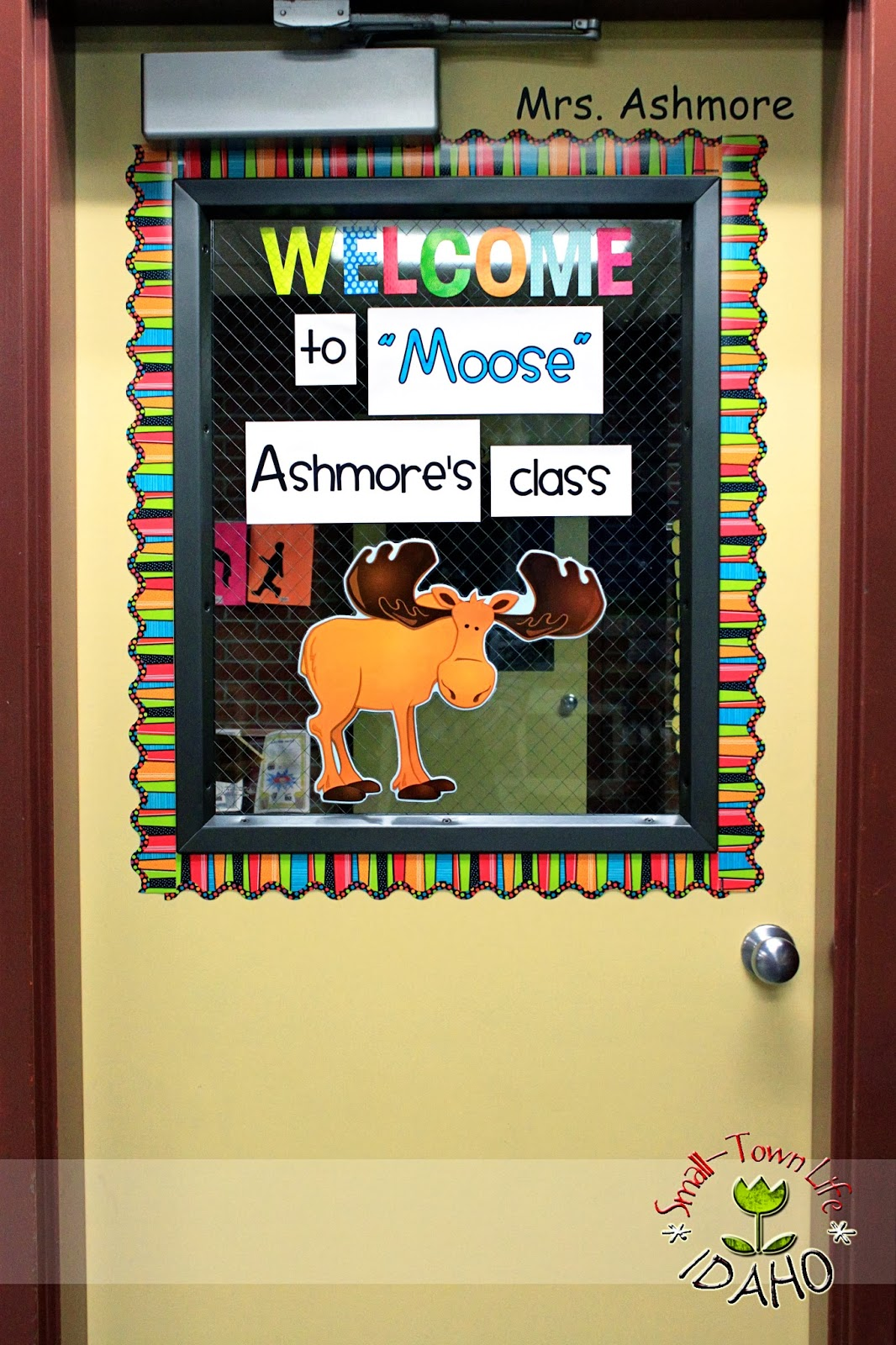 Cartoon classroom door - Camping Themed Classroom