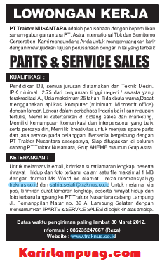 Lowongan Kerja PT. Traktor Nusantara Terbaru 2013