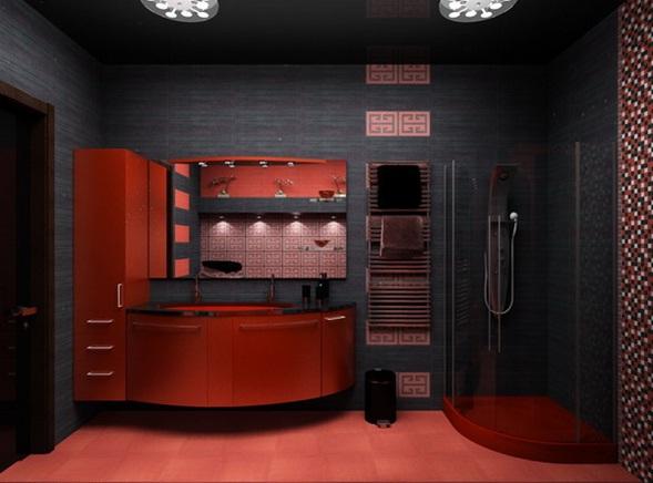 Lavadero De Baño Moderno:Diseño de Baño Rojo y Negro