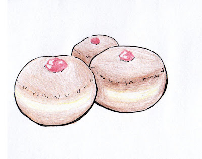 draw sufganiot doughnuts