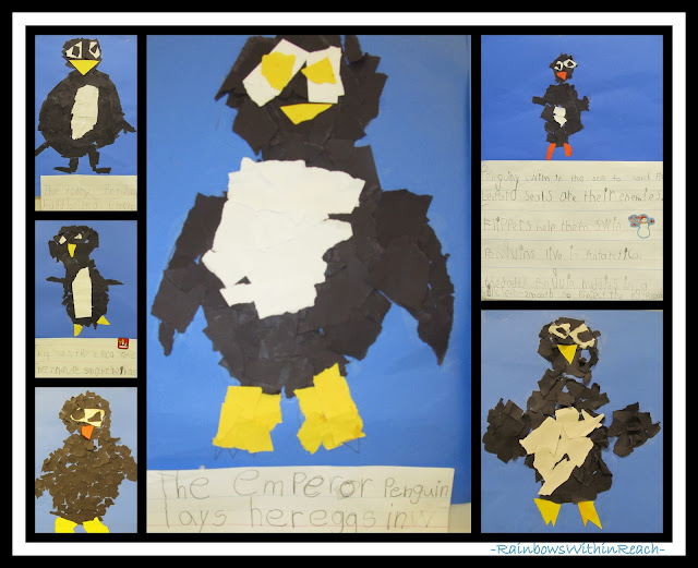 photo of: Penguins from Torn Paper with Writing Report via RainbowsWithinReach Winter RoundUP