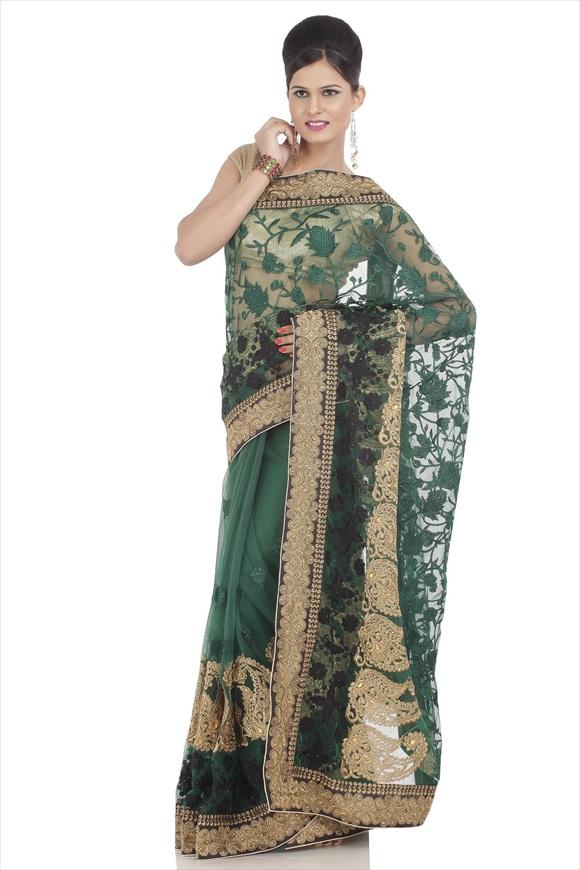 indian Amazon Green Net Saree