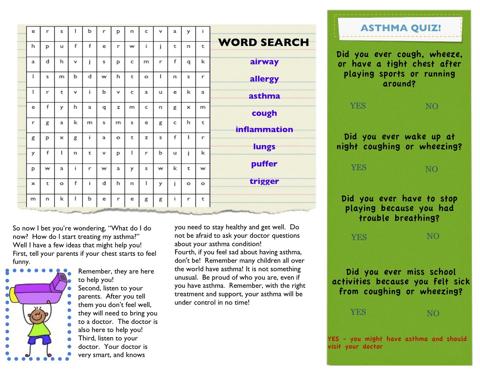 Asthma Awareness For Adults And Children - Asthma brochure template