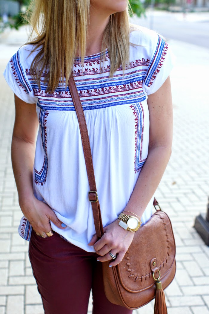 embroidered boho shift  top