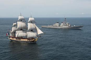 """La """"frégate de la liberté"""" qui transporta La Fayette, accueilli par l'U.S. Navy ! <[cliquer]>"""