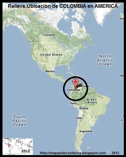 América. Mapa de Relieve.Ubicación de COLOMBIA en AMERICA
