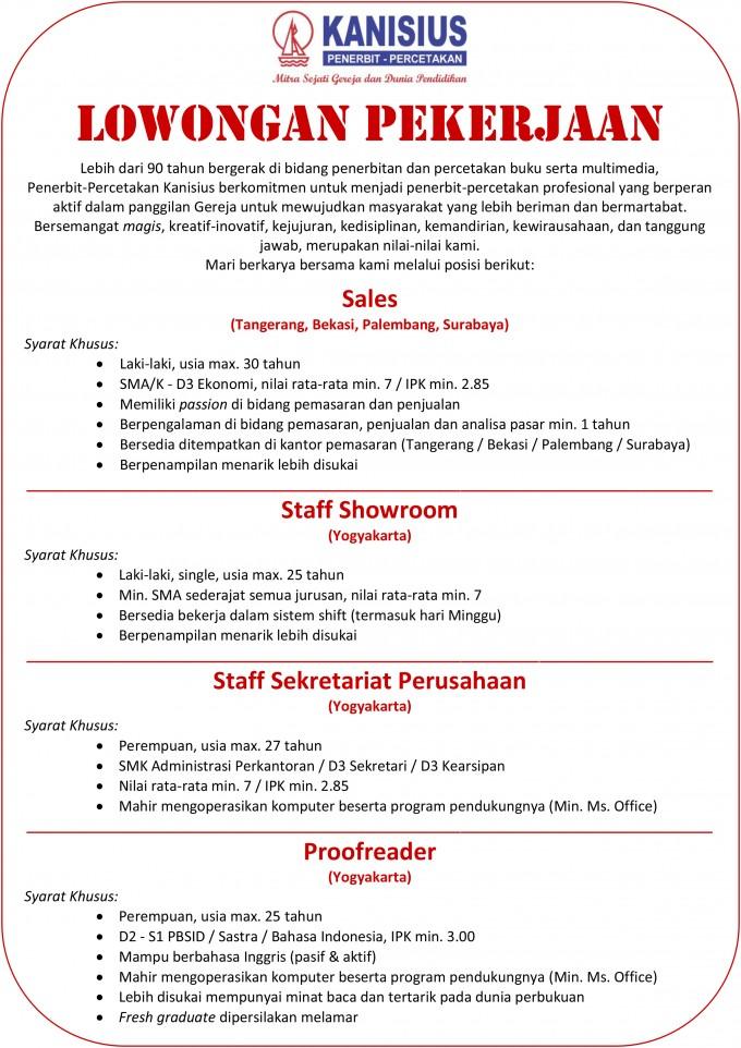 Info Lowongan Kerja Lowongan Kerja Terbaru Juli 2013 Penerbit Percetakan Kanisius 1
