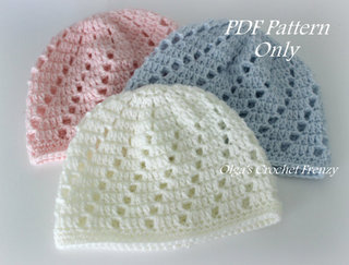 Baby Beanie Crochet Pattern, Size 0-3 Months, $2.25
