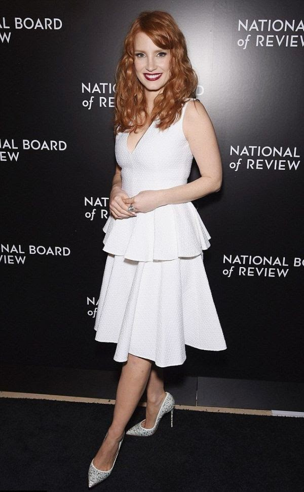 Picking an award as the Best Supporting actress, Jessica Chastain was all smiling to the National Board Of Review Awards at New York, NY, USA on Tuesday, January 6, 2015.