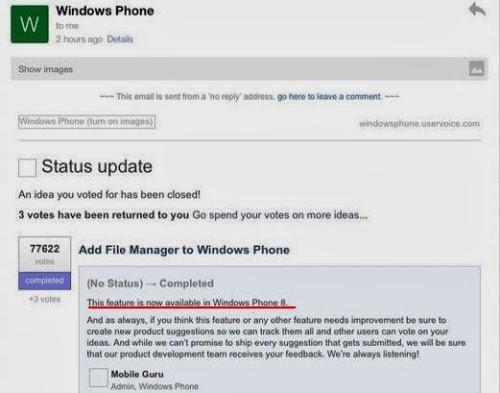 Nella prossima versione windows phone 8.1 sarà integrato nel sistema operativo un file manager