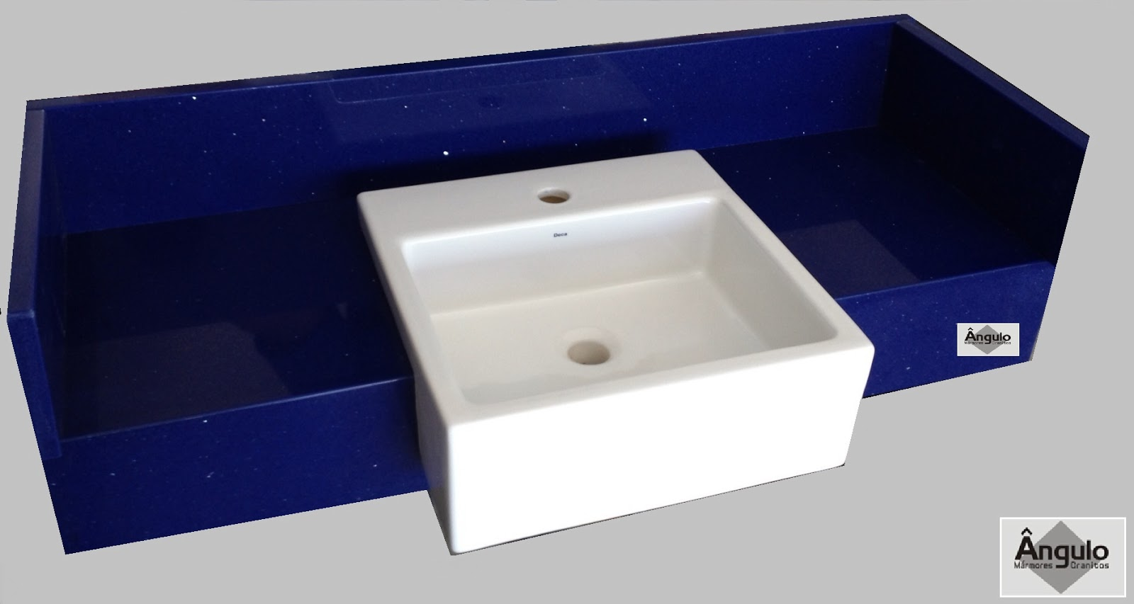 Ângulo Mármores e Granitos Silestone Azul Stellar -> Pia Banheiro Azul