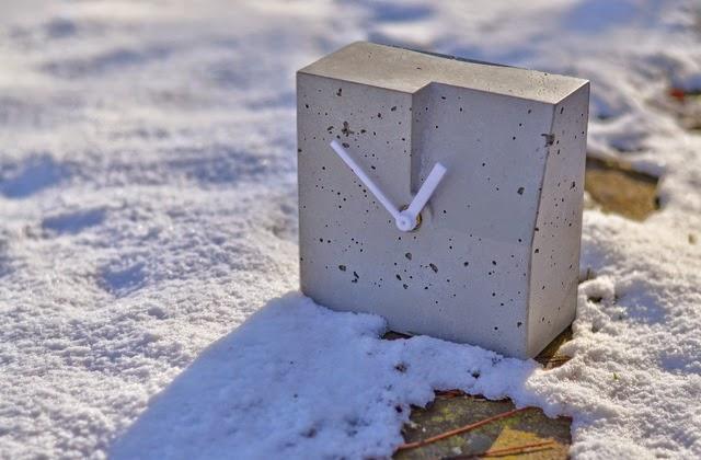Zegar betonowy - szary, nowoczesny, prosty, Niczego Sobie