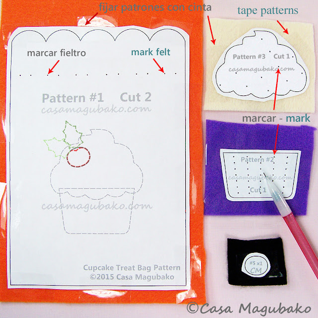 Cupcake Treat Bag Tutorial - Marking Felts by casamagubako.com