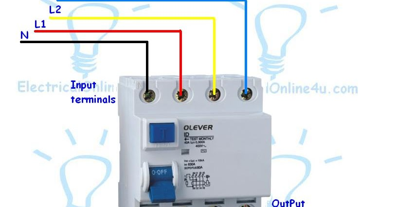 how to wire a 4 pole rcd circuit breaker for 3 phase 4 wire system