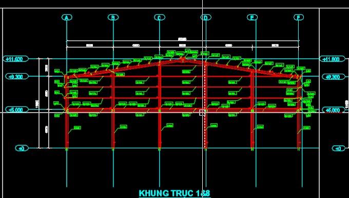 [AutoCAD] Nhà thép tiền chế:Bản vẽ+thống kê thép