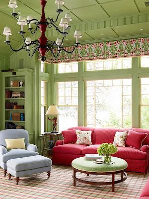 decorar sala en verde