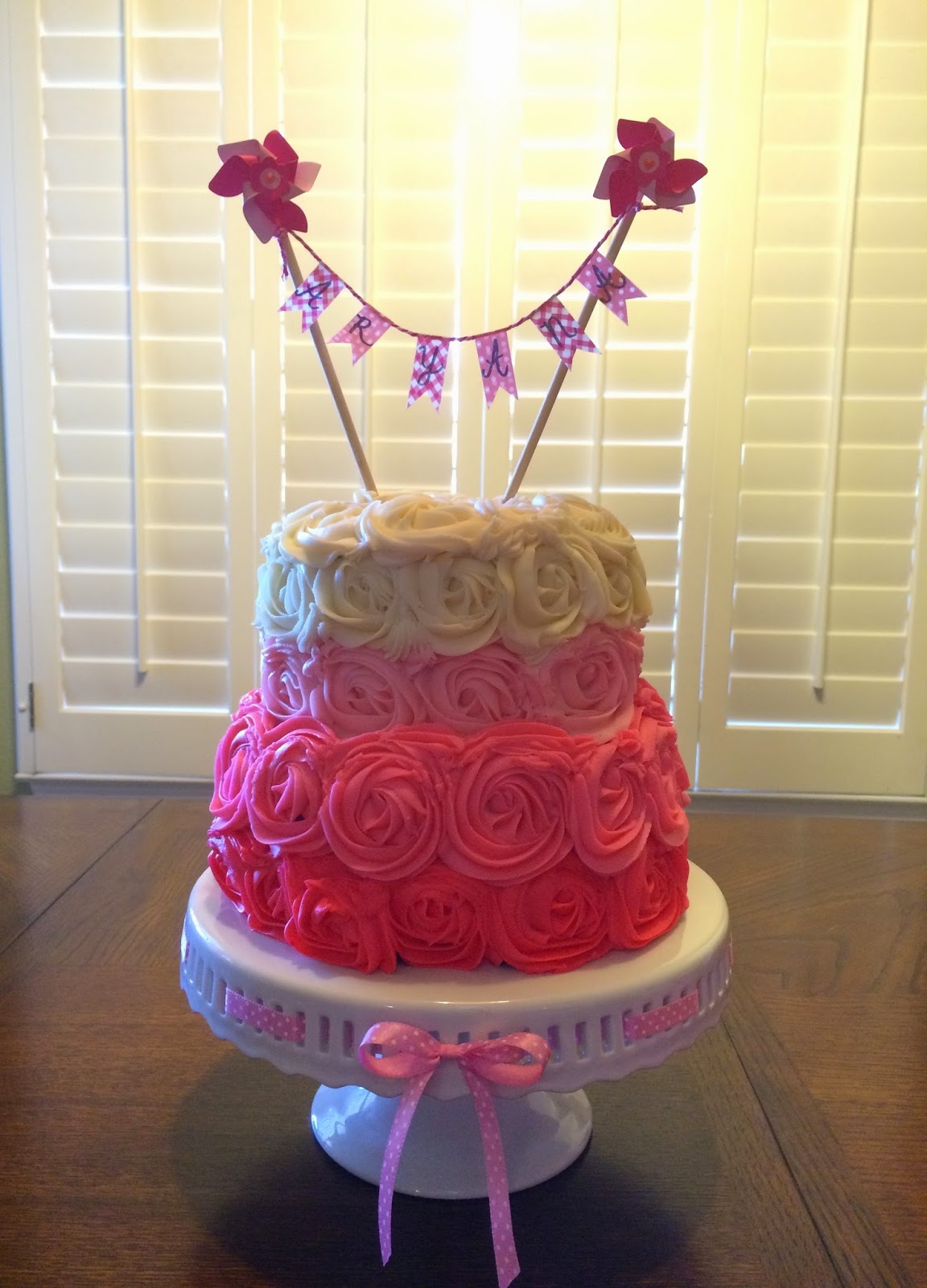 Indulge With Me Pink Rosette Cake For Aryana