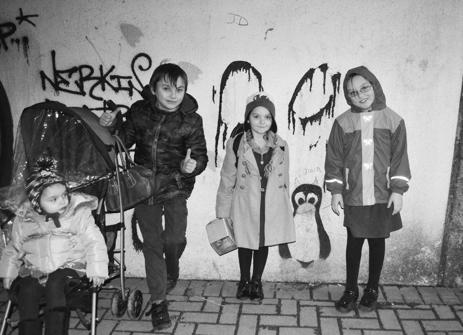 Kids silhouette photo monochrome tunnel light grafitti Haverfordwest